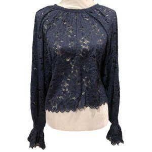 Free People Olivia Balloon Sleeve Lace Top Navy XS